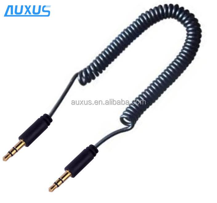 3,5 мм спиральный кабель для входа внешнего сигнала, весна, aux кабель со штыревыми соединителями на обоих концах для подключения