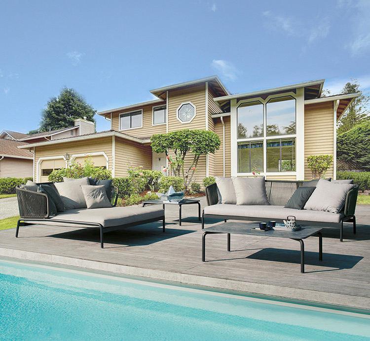 Patio muebles de exterior tejidas a mano-tiempo cuerda 3 asiento premium de sofá de madera de teca