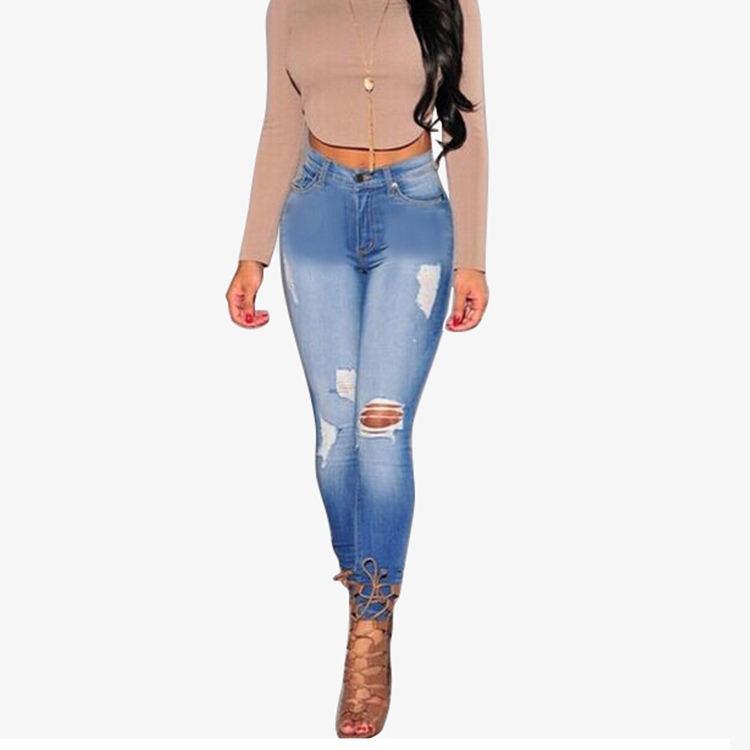Venta caliente pantalones de gran tamaño Pantalones altos Jeans estiramiento Denim Slim Jean Pantalones de mujer
