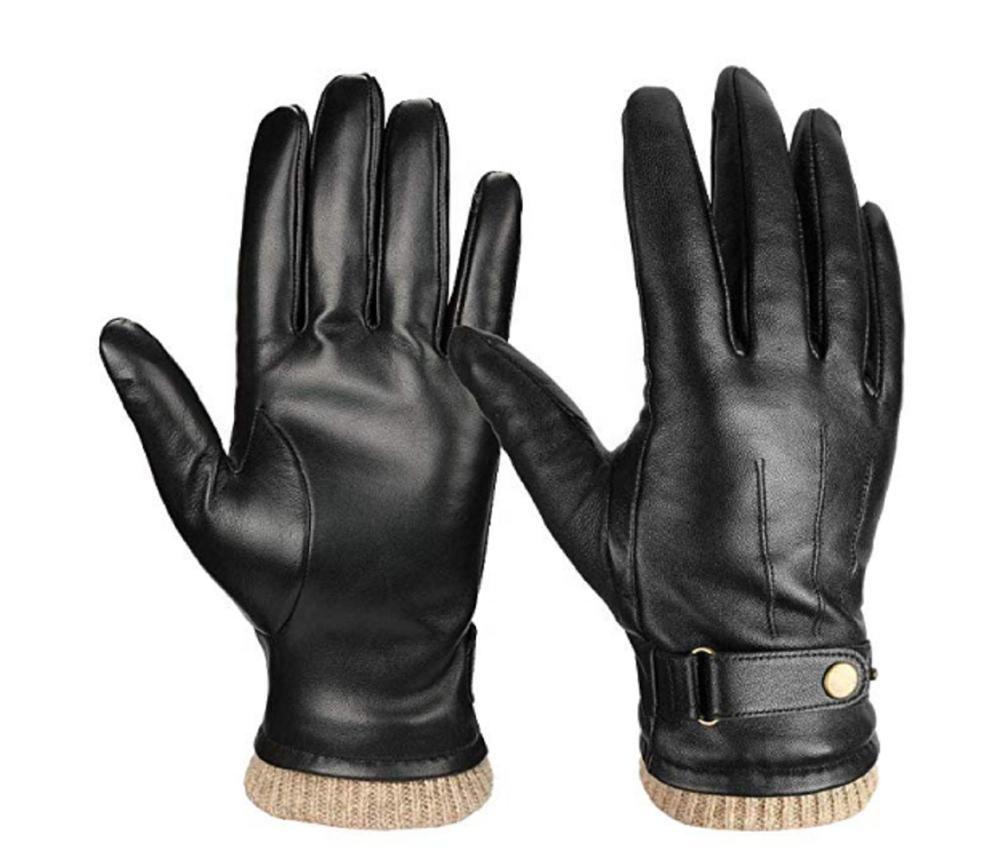 Noir Luxe Hiver Chaud Thermique Polaire Doublé Gants en cuir de conduite