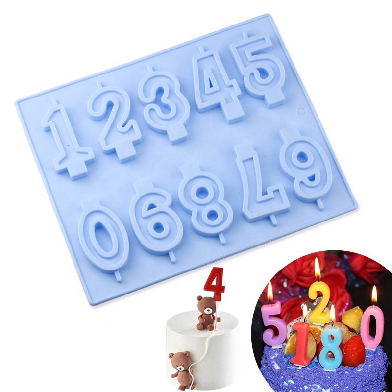 10 Numbers 3D Silicone Candle DIY mold Birthday Cake Topper Cake Decorating tool Chocolate Mould Candle Making Mold