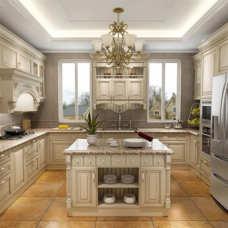 HS-KC05 china cheap apartment modern luxury island sink cabinet design house high end white color solid wood kitchen cabinets