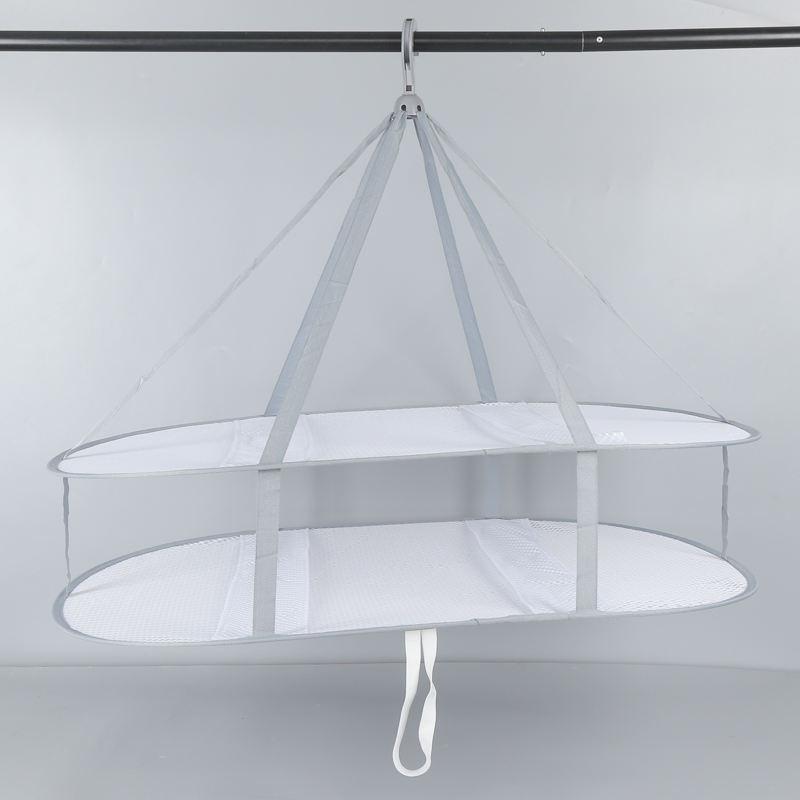 Secador de malla de doble capa de suspensión Rack secado plegable colgante suéter secado de ropa cesta de lavandería