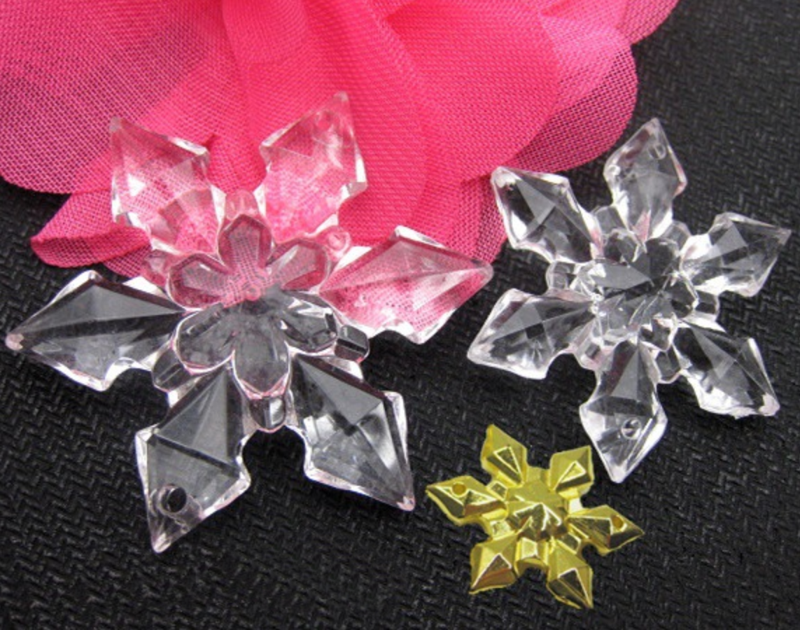 Transparent Gold And Silver Snowflake DIY Pendant Christmas Accessories 28-65mm Six Petal Acrylic Crystal Snowflake
