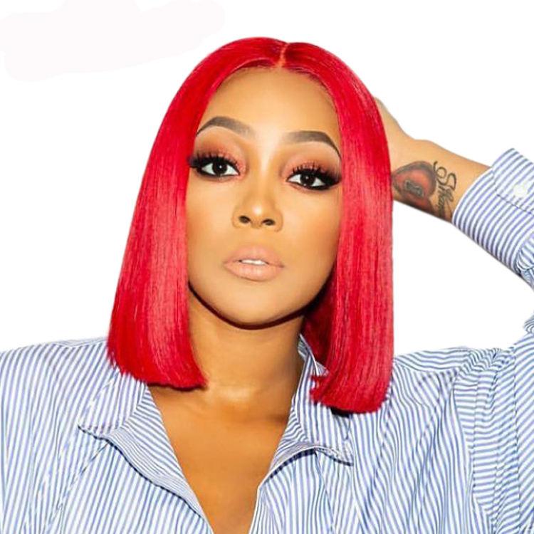 Cabello humano barato frente de encaje color rojo pelucas Virgen de la extensión del pelo humano brasileño