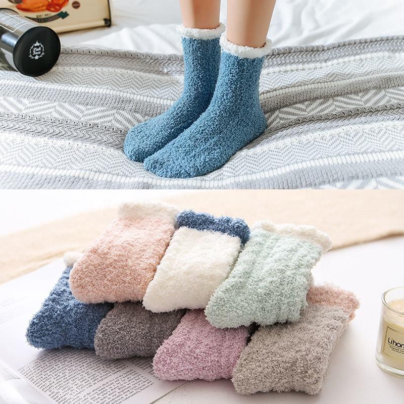 , домашние пушистые носки, коралловые бархатные гетры, Рождественский подарок