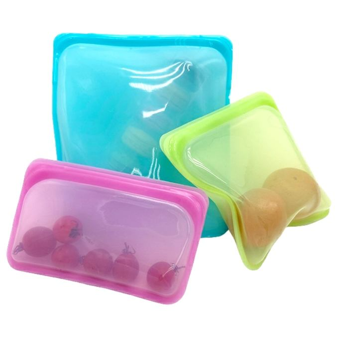 500/1000/2000ML BPA Free Food Grade Reusable 100% Silicone Leakproof Food Storage Bag