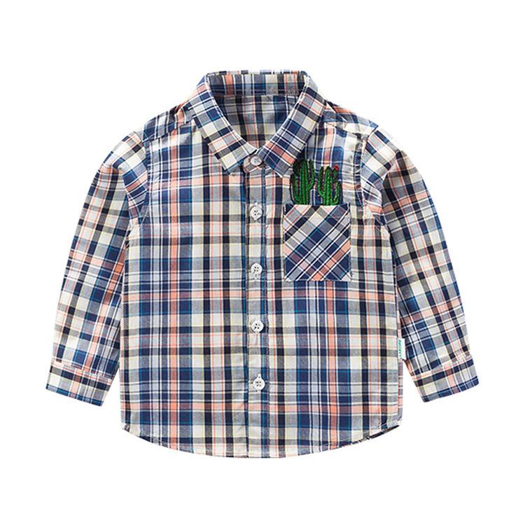Модная блузка с длинным рукавом, дизайнерские клетчатые Детские рубашки для мальчиков