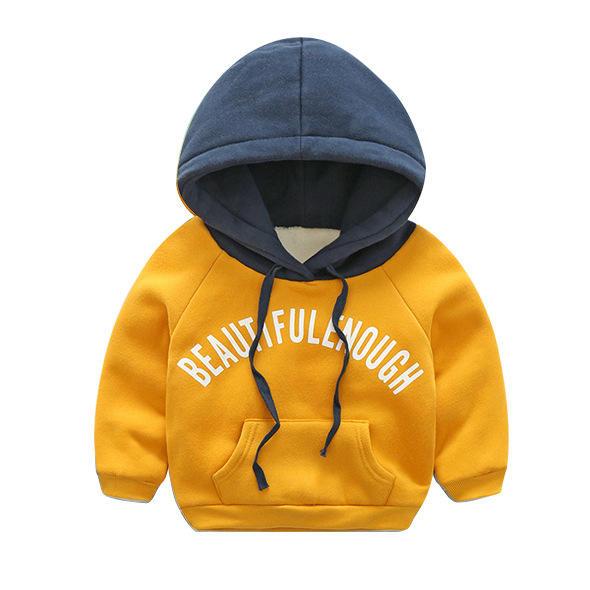 Осень-зима 2020, детская одежда, пуловер с подкладкой для мальчиков и девочек, худи, детская бархатная толстовка с капюшоном