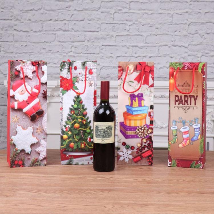 Quatre Nouveaux Modèles De Photo Impression Technologie Mini Bouteille De Vin Sacs Sacs De Noël