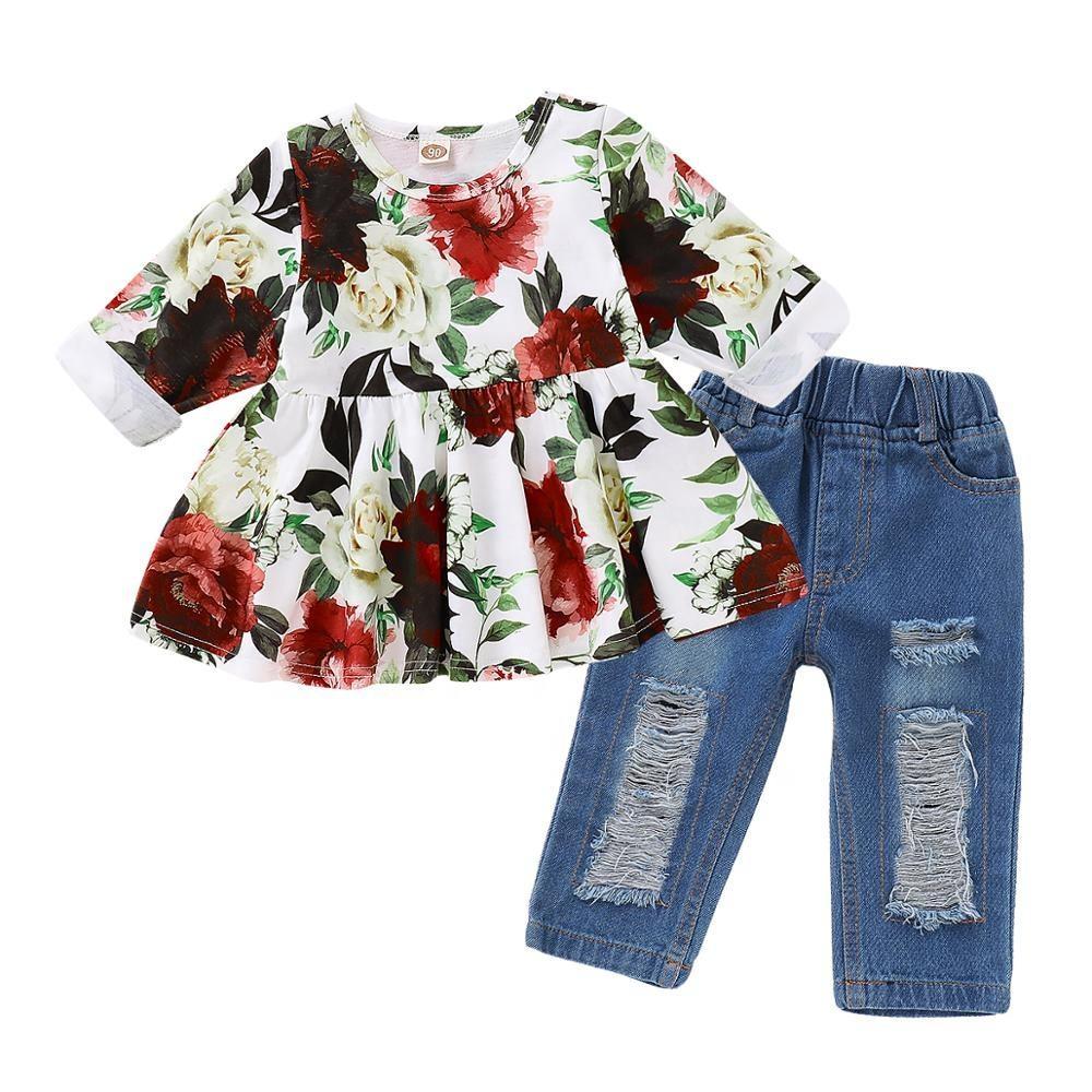 оборками и оборками, крутые джинсы с поясом Одежда для девочек оптовая продажа, одежда для малышей