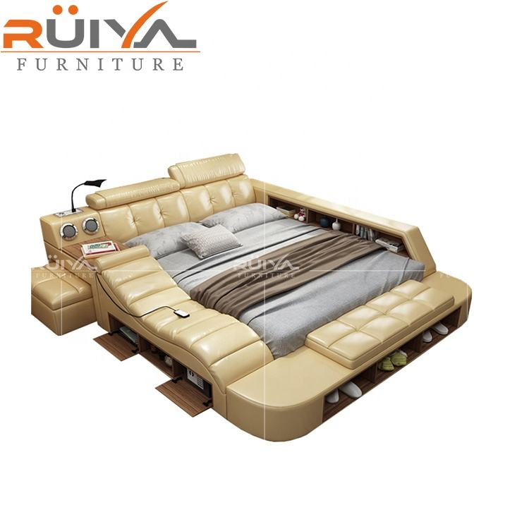 Customizable multifunction storage leather bed with massage,single bed white leather