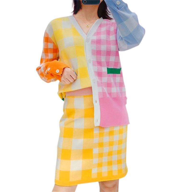 Новый дизайн превалирующий Леди комплект из двух предметов для женщин свитер и платье