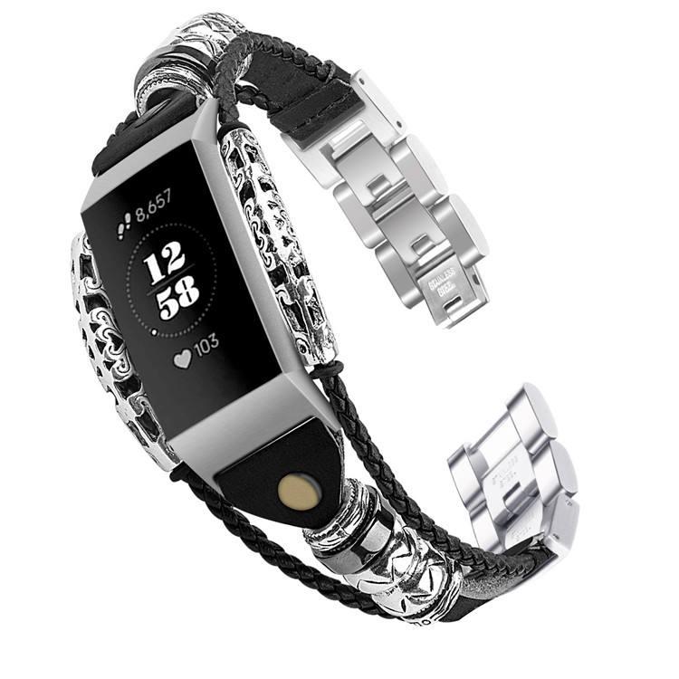 Klassische Schaffell <span class=keywords><strong>Seil</strong></span> Metall Kette Riemen Leder Uhr Band für Fitbit Gebühr 3