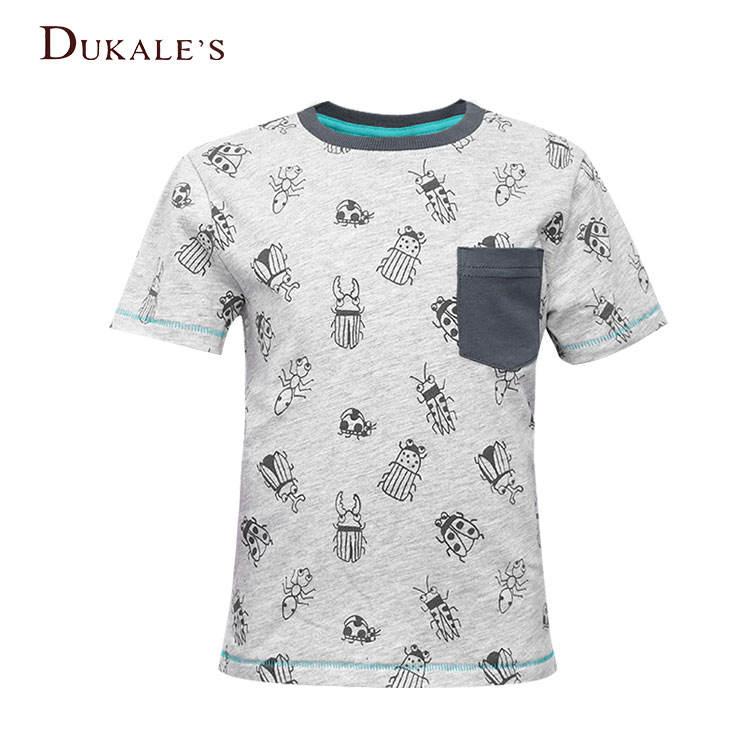 вырезом и принтом из 100% хлопка футболка с короткими рукавами для мальчиков с рисунком детские футболки с карманами