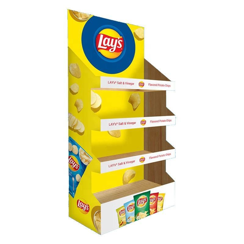 Supermarket Cardboard Floor Snack Food Potato Chips Bag Display Stands Paper Crisps Chips Display Rack
