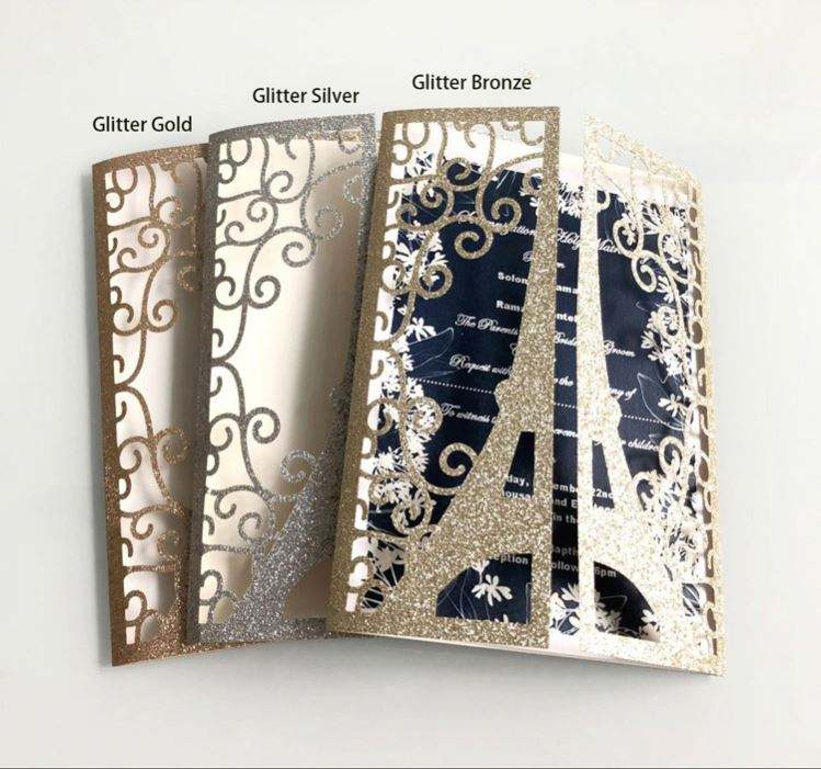 In Stock Free Printing Glitter Laser Cut Wedding Invitations With Envelopes Personalized Wedding Invitation Card