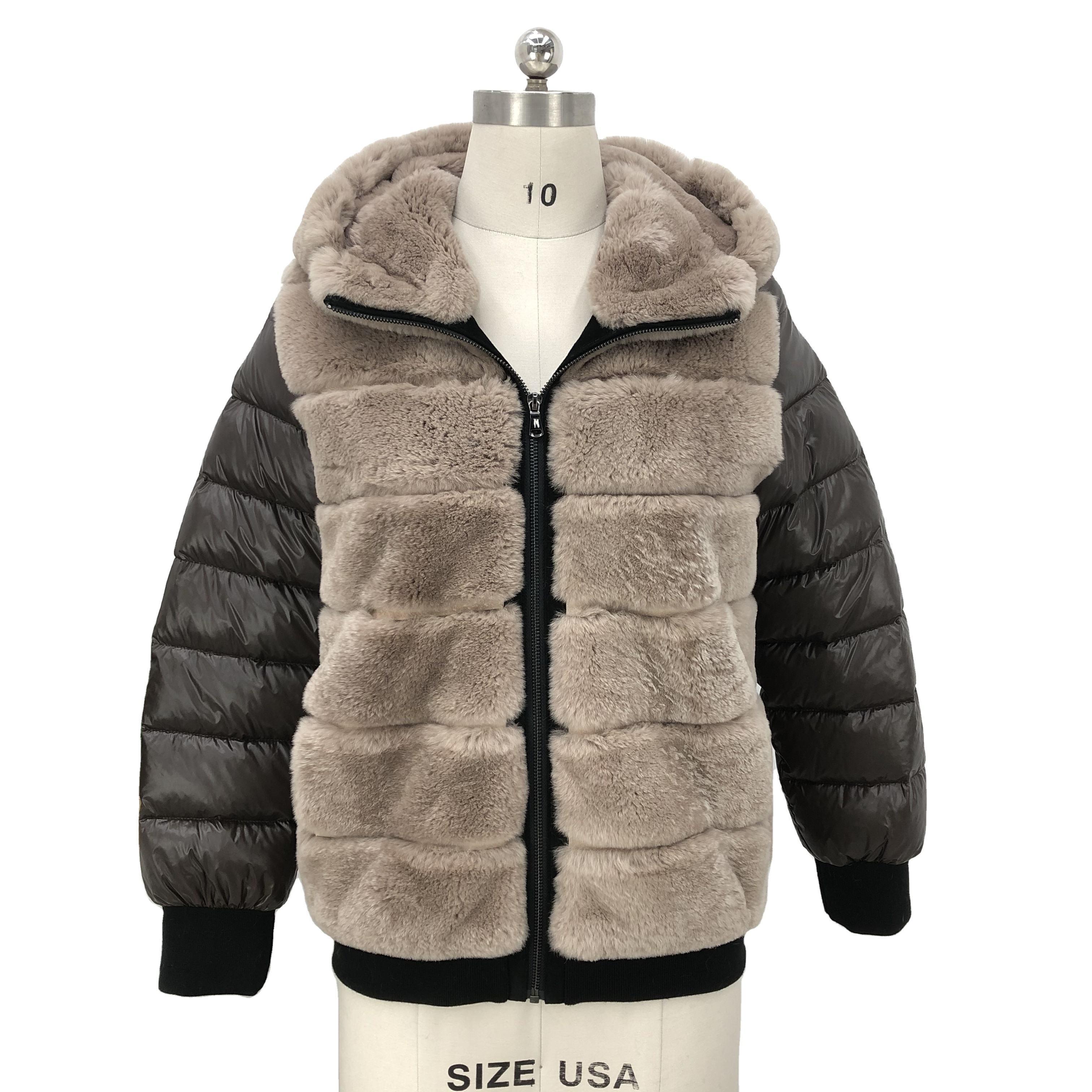 2020 новый дизайн шуба из меха кролика <span class=keywords><strong>Рекс</strong></span> женская зимняя одежда шуба из кроличьего меха пуховое пальто