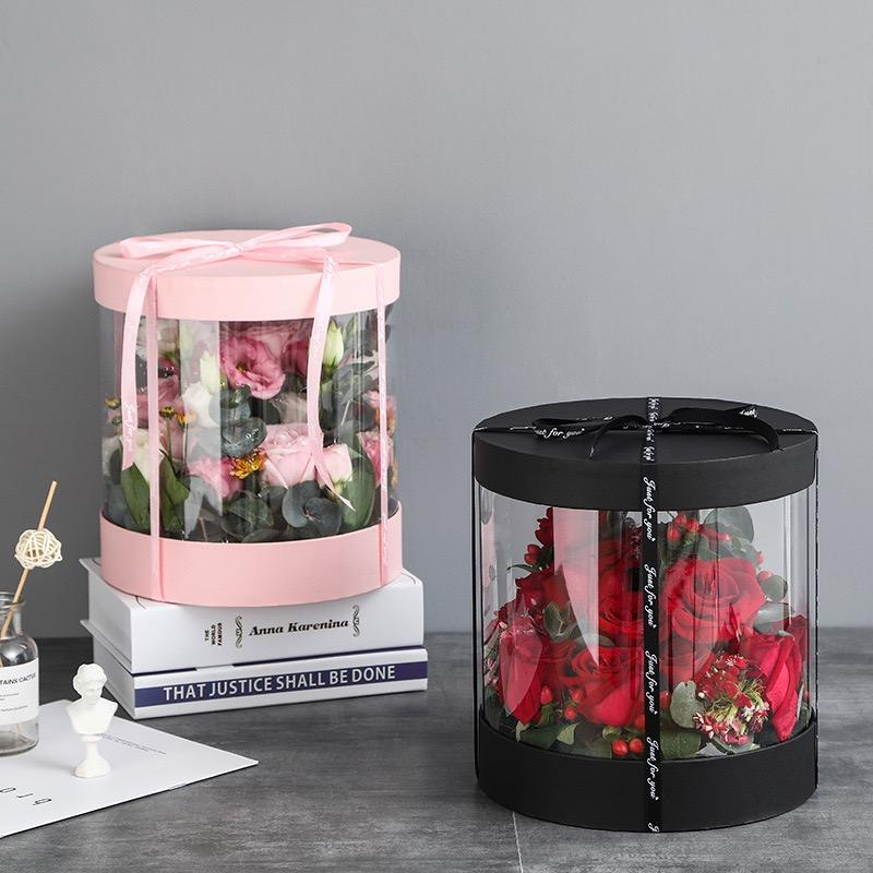 GUESS Valentine's Day Half Transparent Surprise Paper Boxes with Ribbon Flowers Rose Floral Gift Box wedding Bouquet Hat Box