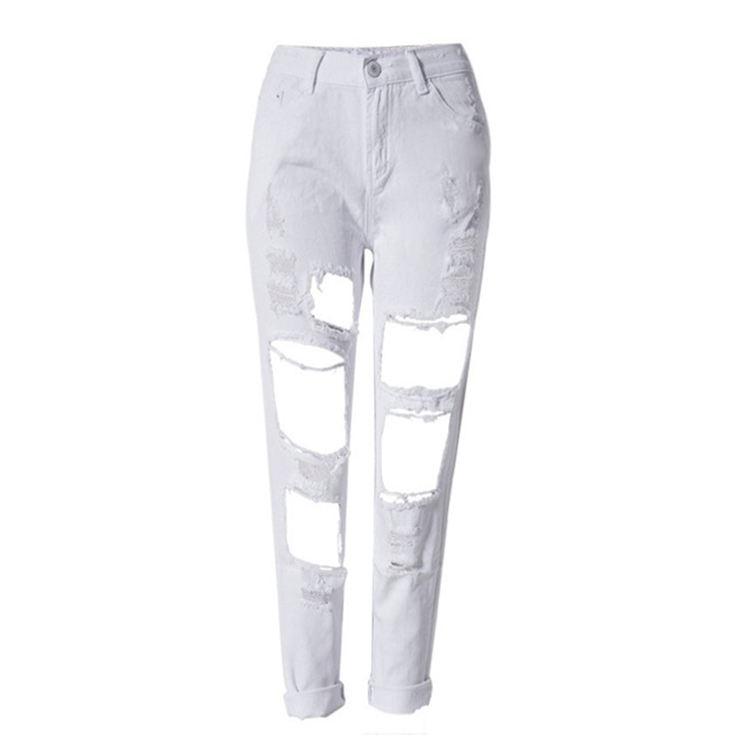 Envío gratuito de moda verano gran agujero vaqueros Mujer amigo estilo rasgado Jean pantalones vaqueros del dril de algodón