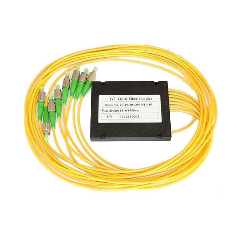 7 formas de caja de ABS tipo de fibra óptica acoplador doble ventanas 1x7 FC UPC FBT divisor
