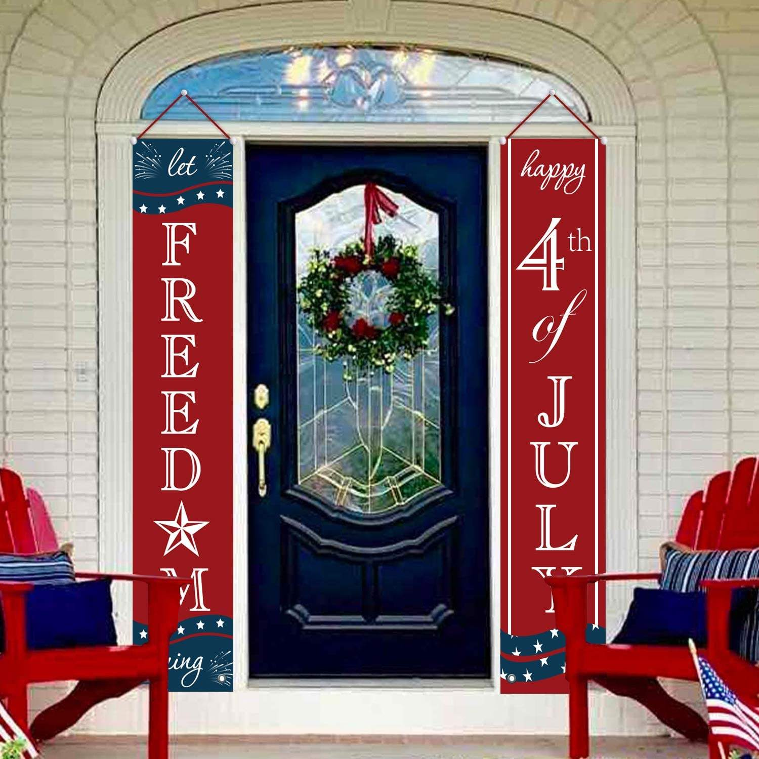 4th of july Welcome and Let Freedom Ring Hanging Flags Bunting Banners Door Porch Sign