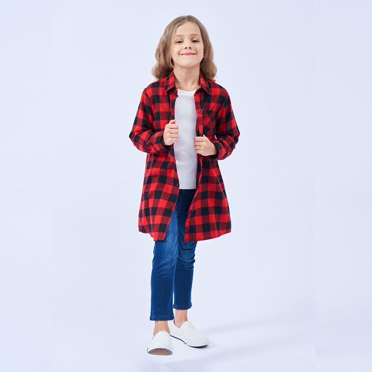 Оптовая продажа, новинка, детская блузка из 100% хлопка, клетчатая рубашка с длинным рукавом для девочек-подростков