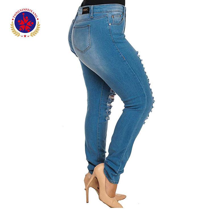 PLUS TAILLE Jeans Femme Taille Haute Skinny Crayon Pantalon En Denim Bleu femmes lavé Extensible grande hanche Jeans