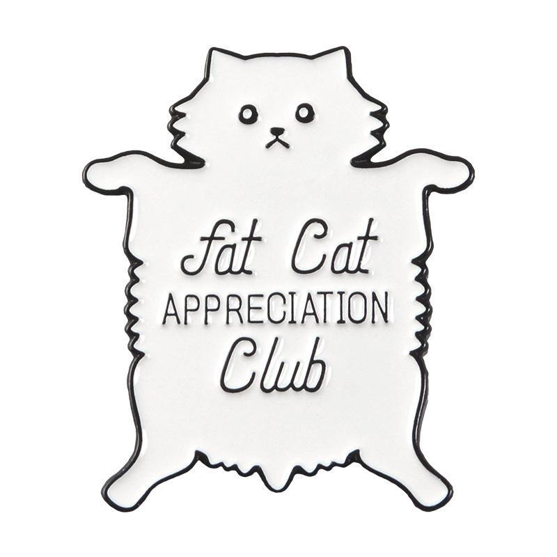 Bonito Dos Desenhos Animados Big Fat Cat Broche, diversão com Liga Cowboy Mochila Crachá