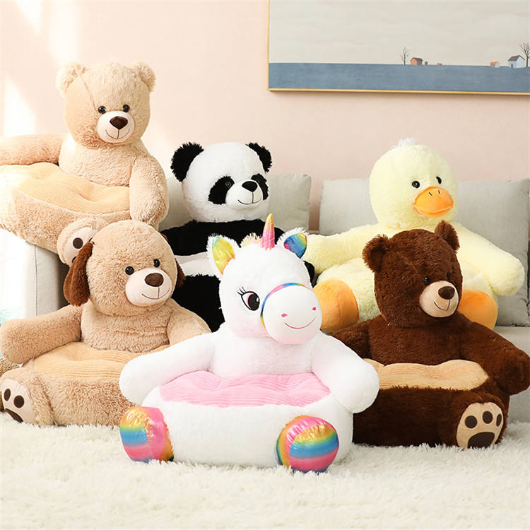 Promotional cute teddy bear panda unicorn duck plush toy child sofa kids plush chair manufacturers kids baby chair