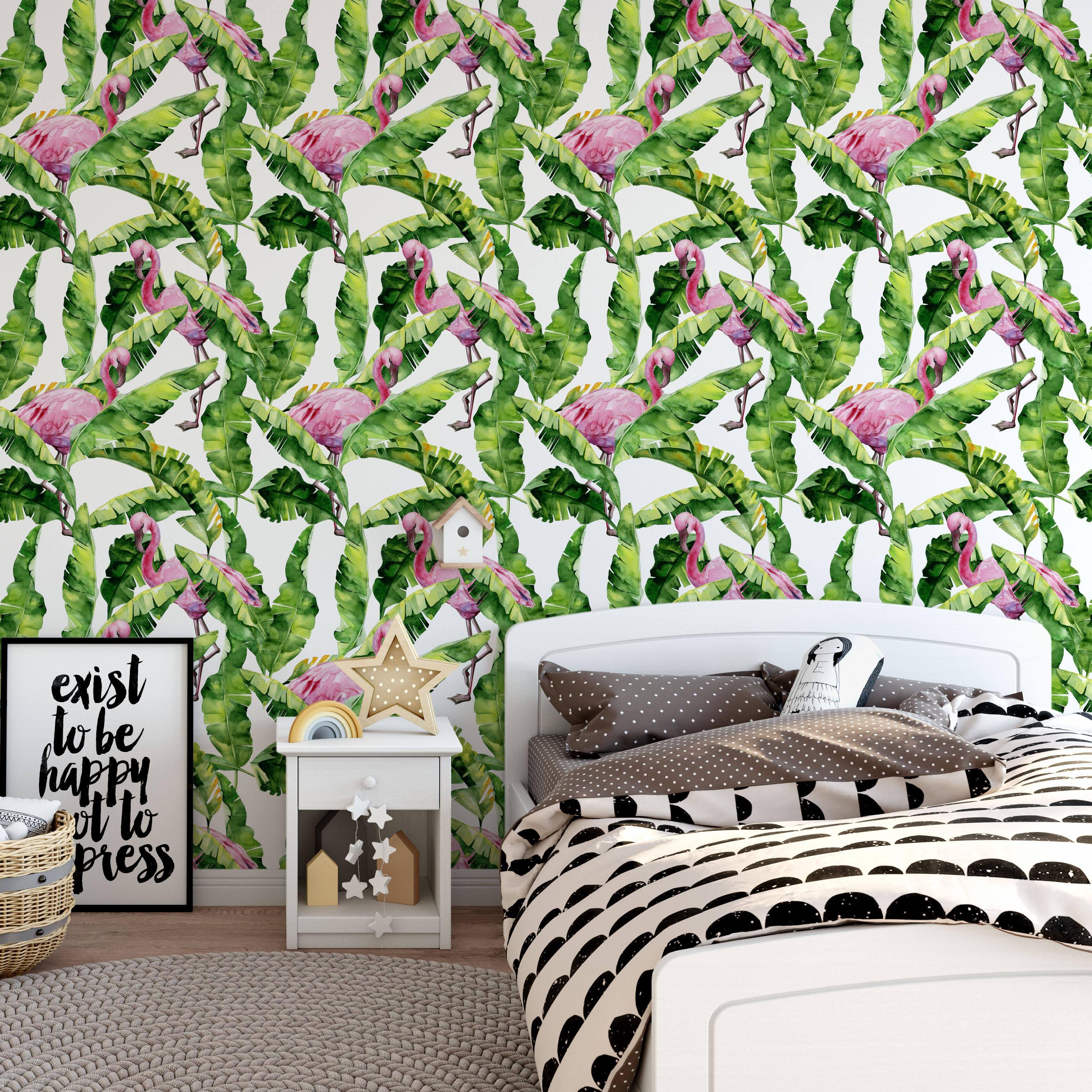 Широко декорация для домашнего <span class=keywords><strong>интерьер</strong></span>а <span class=keywords><strong>Фотограф</strong></span>ии тропический Фламинго наклейки на стену для спальни дома ПВХ обои