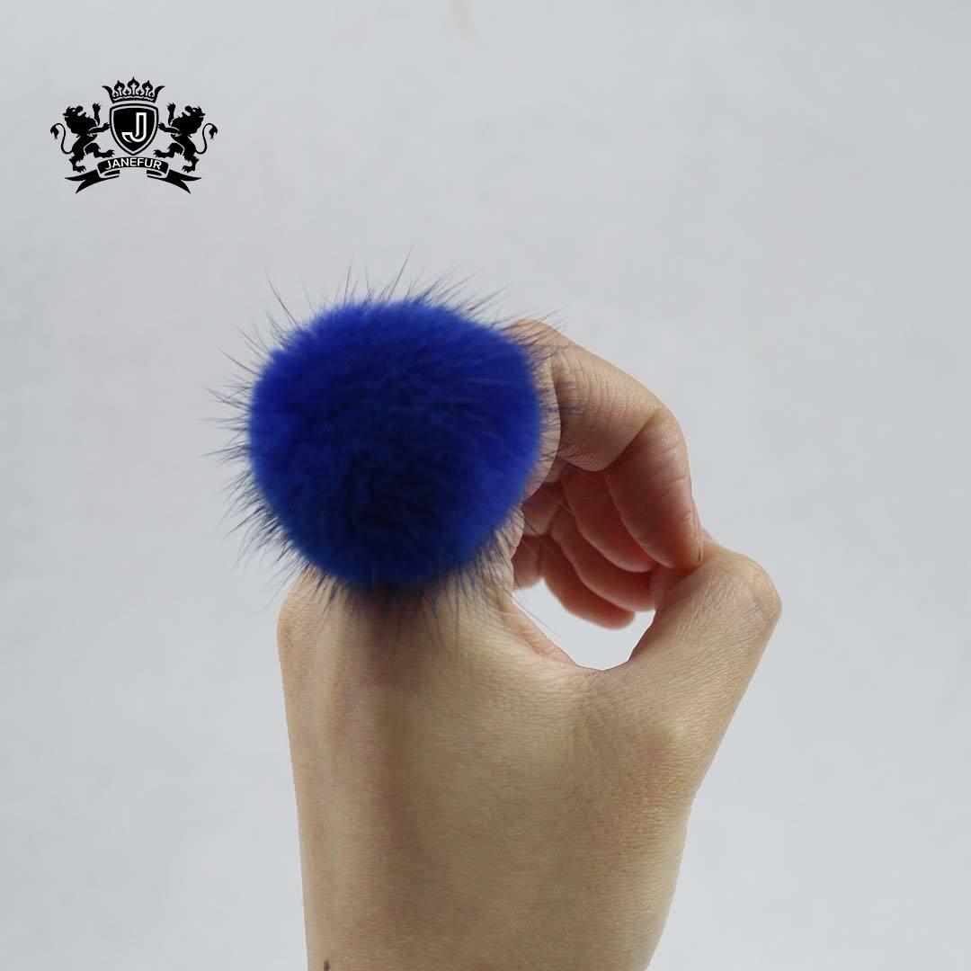 Wholesale Fur Pompom Ring Cute Fluffy Real Mink Fur Ball Finger Rings