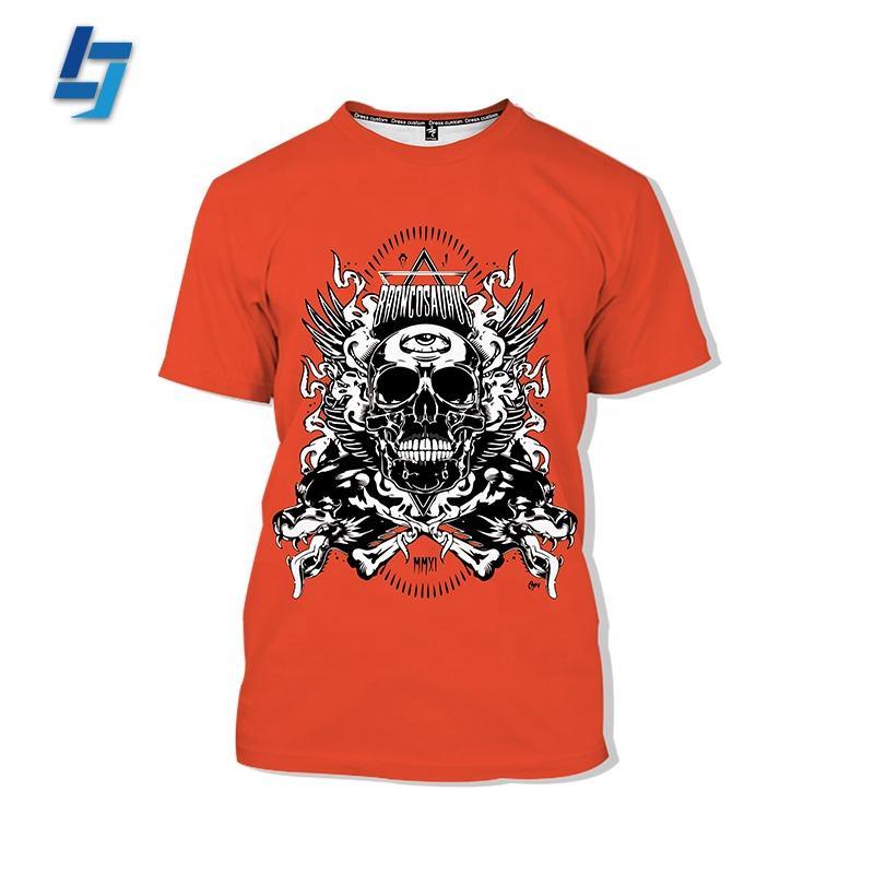Personalizado Sublimação Da Tintura Design 100 Poliéster Dry Fit 3d Impressão de algodão T-Shirt