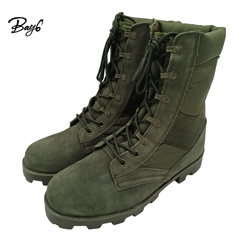 Green 9 Inch Rubber Genuine Leather Men Combat Military Army Boots