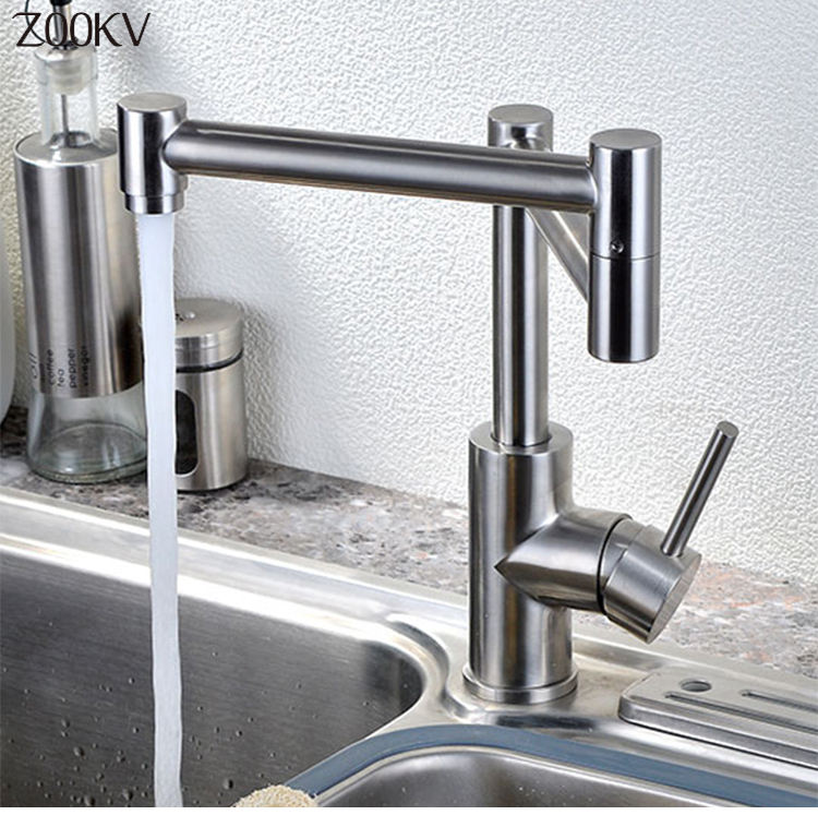 Top selling 304 Stainless Steel Pull Out Water Sink Stretching Kitchen Faucet Multifunction Press Faucet/Tap