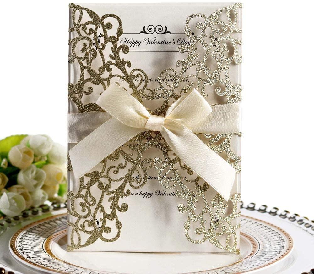 Glitter Floral Laser Cut Geschenk gruß geschäft danke Einladung Acryl Hochzeits karten mit individuell bedruckten Logo