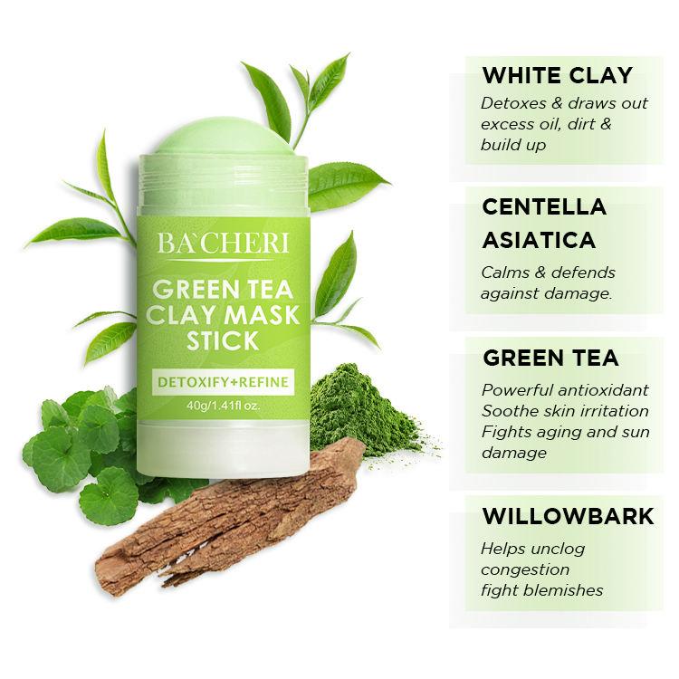 Private Label Skin Care Organic Avocado Turmeric Dead Sea Mud Acne Whitening Moisturizing Green Tea Facial Clay Mask Stick