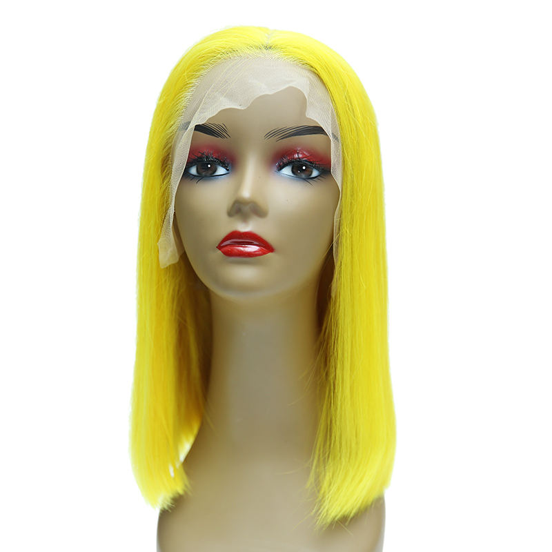 al por mayor de proveedores de cabello humano amarillo recto brasileño Bob corto Pre arrancado <span class=keywords><strong>peluca</strong></span> delantera de encaje
