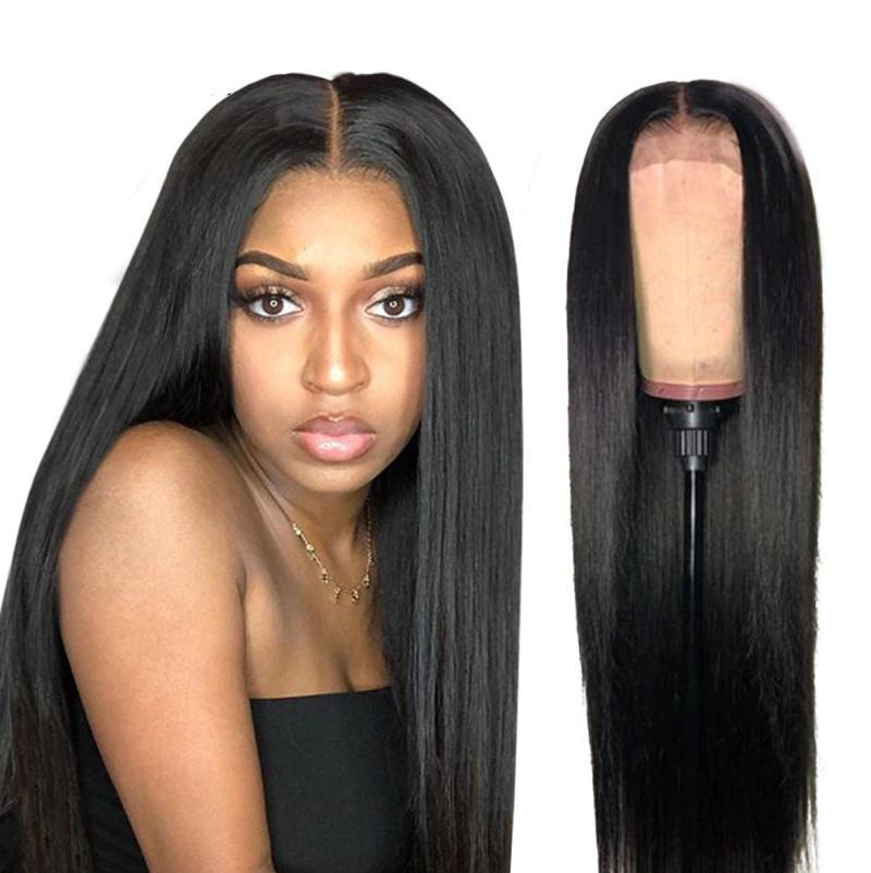 <span class=keywords><strong>Peluca</strong></span> de pelo frontal recto sedoso largo con pelo Pelucas delanteras de encaje negro para mujer