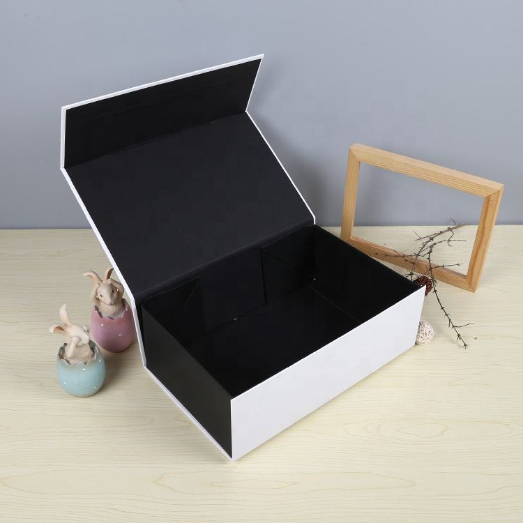 Printing Box Luxury Matte Lamination Book Shaped Rigid Paper Flap Custom Printed Magnetic Closure Gift Black Magnet Box