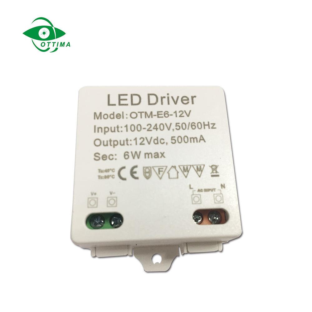 240 В мини светодио дный драйвер 6 Вт 12 В 500mA постоянное напряжение IP20 Малый светодио дный питания для полосы