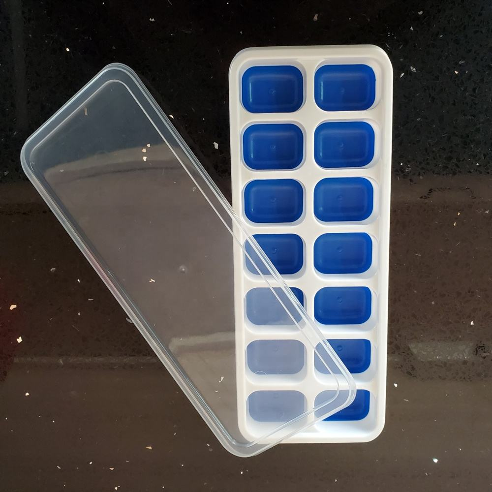 Amazon New Color Design Pantone No.293C 14-grid Ice Cube Tray with Lid rectangle silicone ice cube tray