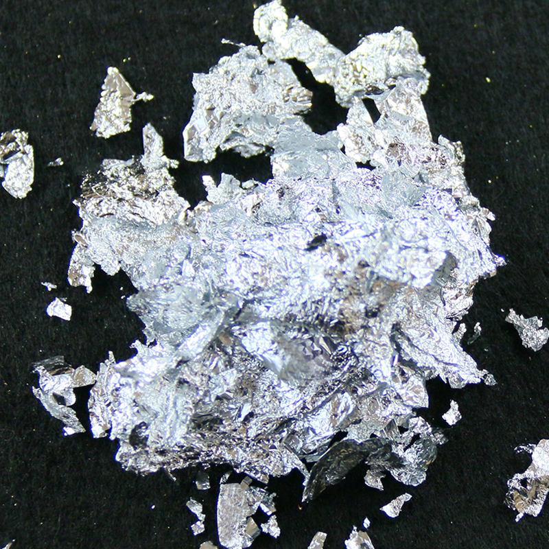 <span class=keywords><strong>20</strong></span> GRAMPS fragmento de imitación de hoja de plata escamas de aluminio hoja para la decoración