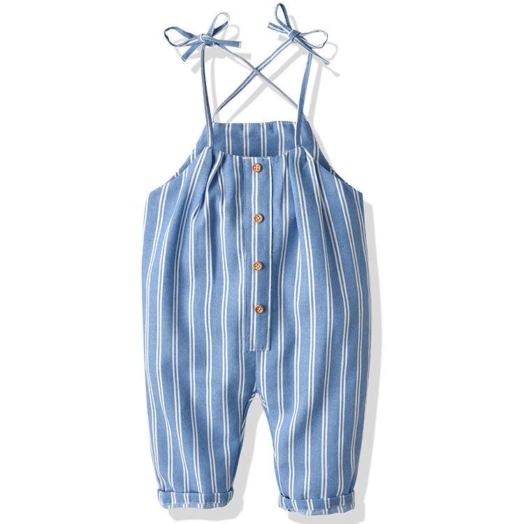 Летний детский комбинезон на бретелях, брюки в полоску для девочек