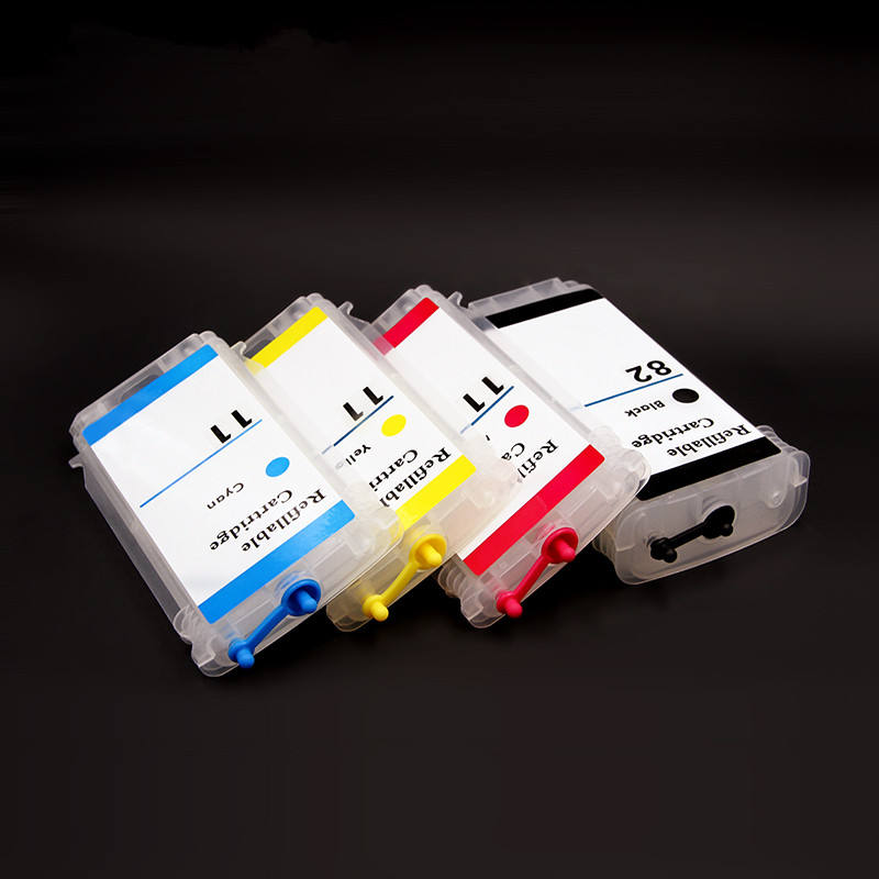 OCBESTJET 4 색 280 미리리터/개 HP 82 11 빈 리필 잉크 카트리지 HP Designjet 111 프린터