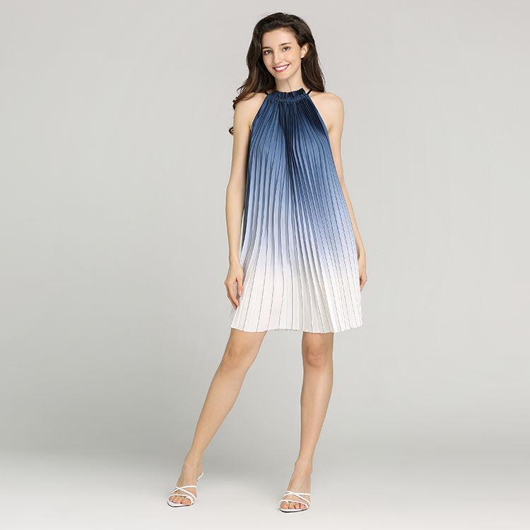 Bleu/Coloris blanc Douche D'impression Avec ligne V Cou Pierre À Volants Manches Plissé femmes Longue Rlegant décontracté robe