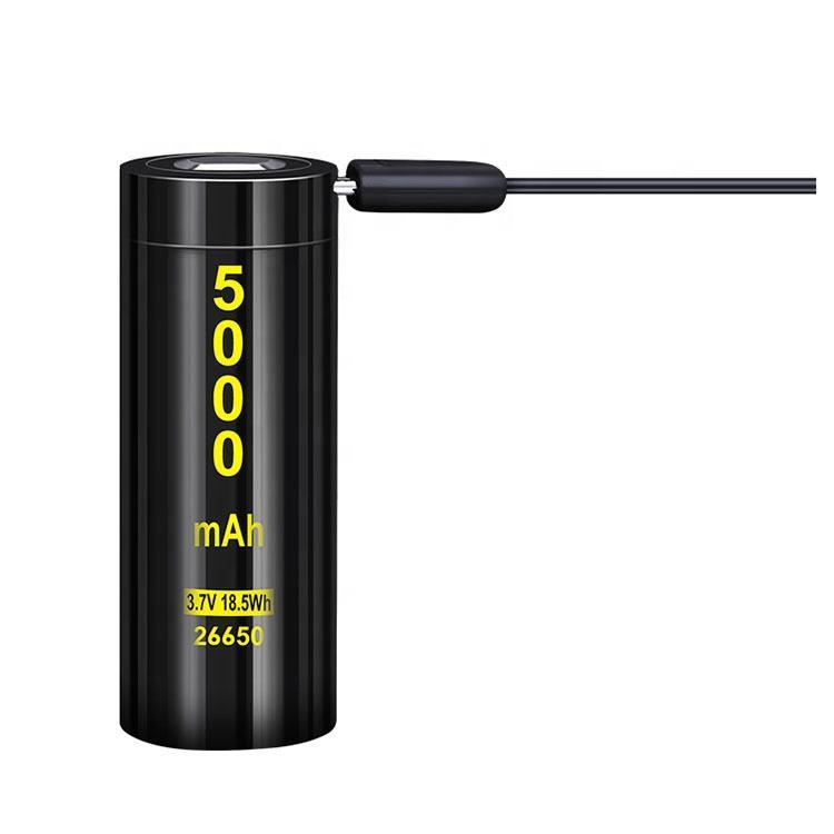 New USB 3.7V Li Ion Battery 5000MAh 26650 Lithium Có Thể Sạc Lại <span class=keywords><strong>Pin</strong></span>