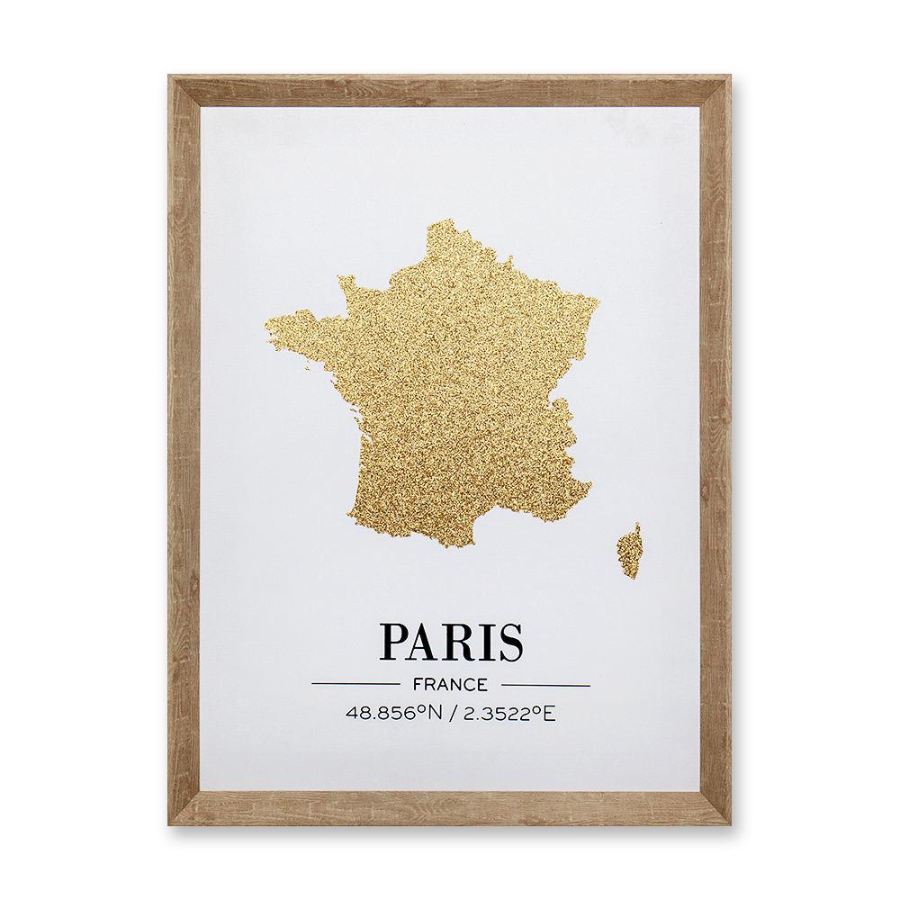 Oro en polvo abstracto clásico de mapa de la ciudad de Londres, París, Nueva York pintura de la lona arte de la pared para casa