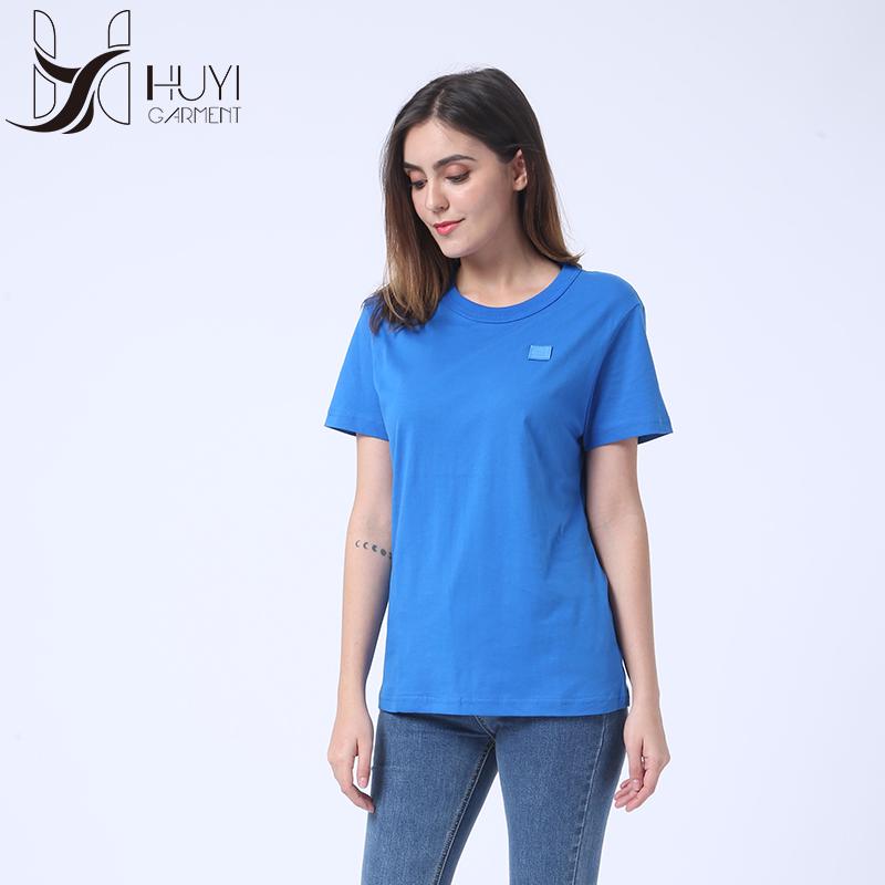 Style Simple Bleu Meilleure Vente Dames Mode Loisirs Manches Courtes Coton Femmes T-shirt