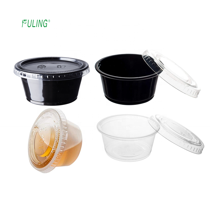 restaurant to go black disposal 35ml souffle cup round dipping sauce packaking plastic takeaway food sauce cups